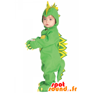 Mascot green and yellow dinosaur, full disguise - MASFR25043 - Mascots for childs