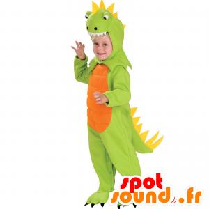 Grøn, orange og gul dinosaur-maskot, fuld forklædning -