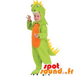 Green dinosaur mascot, orange and yellow, full disguise - MASFR25044 - Mascots for childs