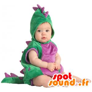 Grøn og lilla dinosaur maskot. Fuld dragt - Spotsound maskot