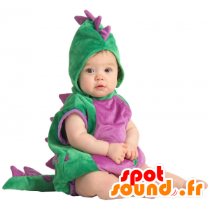 Mascote do dinossauro verde e roxo. fato completo - MASFR25045 - Mascotes para crianças