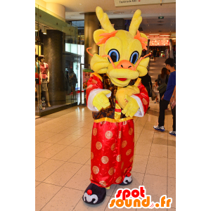 Chooyutshingドラゴンマスコット、赤、オレンジ、黄色-MASFR25046-日本のゆるキャラのマスコット