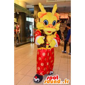 Dragon maskot Chooyutshing, červená, oranžová a žlutá - MASFR25046 - Yuru-Chara japonské Maskoti