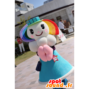 Sorara mascot, girl, rainbow sky with a cloud