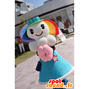 Sorara maskot, flicka, regnbåge, med ett moln - Spotsound maskot
