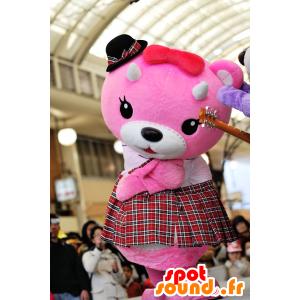 Mascot roze en witte teddybeer met een kilt - MASFR25050 - Yuru-Chara Japanse Mascottes