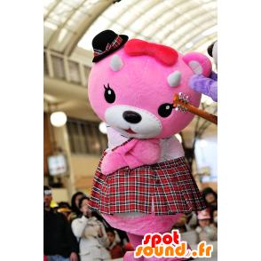 Rosa mascotte e orsacchiotto bianco con un kilt - MASFR25050 - Yuru-Chara mascotte giapponese