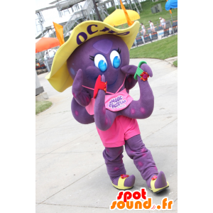 Ocho mascot, purple octopus Magic Waters