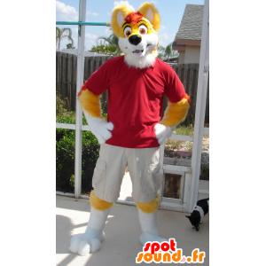 Mascotte de chien jaune et blanc, tout poilu et mignon