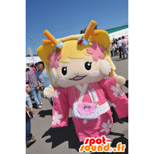 Mascot Tsu geinô blonde meisje gekleed in roze - MASFR25055 - Yuru-Chara Japanse Mascottes