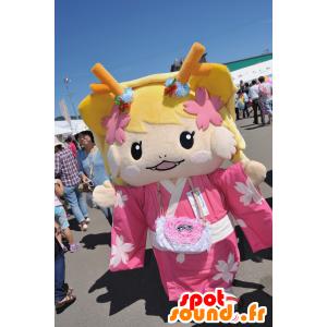 Maskot Tsu geinô blondýna oblečená v růžové - MASFR25055 - Yuru-Chara japonské Maskoti