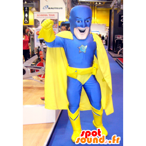 Superheld mascotte in blauw en geel combinatie - MASFR25056 - superheld mascotte