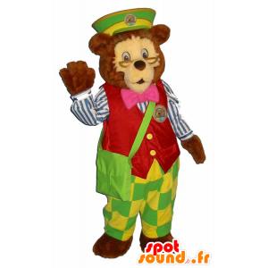 Mascotte orso bruno vestito in abiti colorati fattore - MASFR25058 - Collant