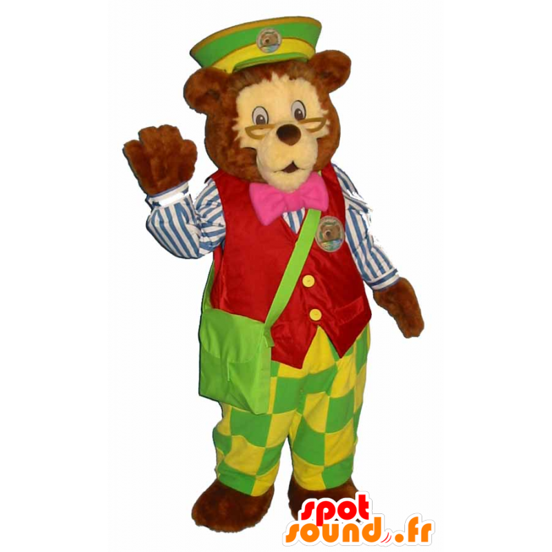 Mascotte brown bear dressed in colorful attire factor - MASFR25058 - Pantyhose