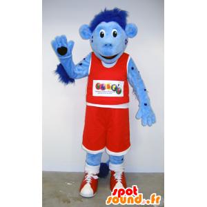 青い猿のマスコット、赤いバスケットボールの衣装-MASFR25061-日本のゆるキャラのマスコット