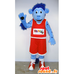 Blue monkey mascot in red holding basketball