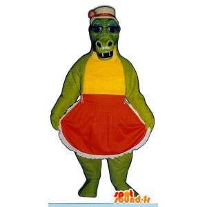 Mascot cocodrilo verde en un vestido rojo
