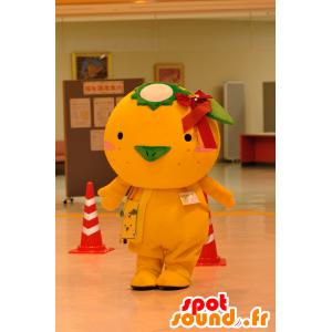 Grande mascotte arancione uccello, canarino, pulcino - MASFR25062 - Yuru-Chara mascotte giapponese