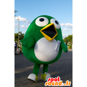 Totto mascot, big green and white bird Sagantosu