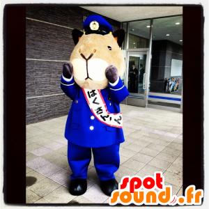 Mascotte de hamster, de cochon d'Inde en uniforme de policier