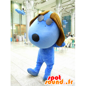 Mascotte large blue and brown dog with glasses