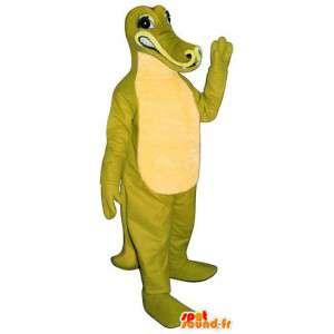 Mascotte de crocodile vert et blanc - Toutes tailles