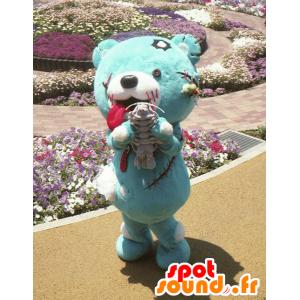 Mascotte de Zombea, nounours zombie bleu, de la ville d'Hokkaido