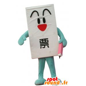 Mascotte d'Ippyo-Kun, de bulletin de vote géant, avec un crayon