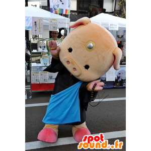 Mascot pink pig, black dress, cute and funny