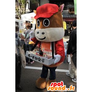 Mascotte de Mo Taro, de poulain marron, de la ville de Mie