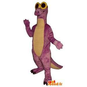 Mascote dinossauro roxo com óculos amarelos
