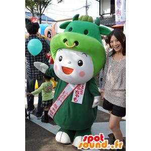 Chachamo mascotte, uomo sorridente in costume della mucca - MASFR25075 - Yuru-Chara mascotte giapponese