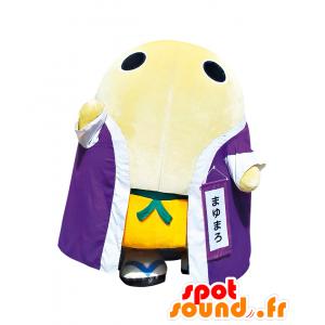 Mascotte de Mayumaro, œuf blanc géant avec un peignoir