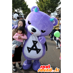 Akkuma mascot, purple teddy with black wings