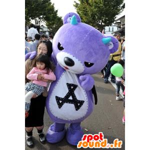Akkuma mascotte, viola orsacchiotto con le ali nere - MASFR25077 - Yuru-Chara mascotte giapponese