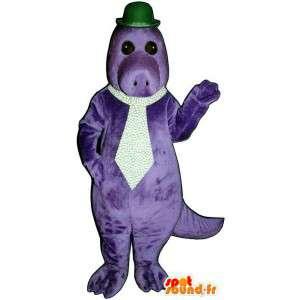 Mascote dinossauro roxo com um chapéu e gravata