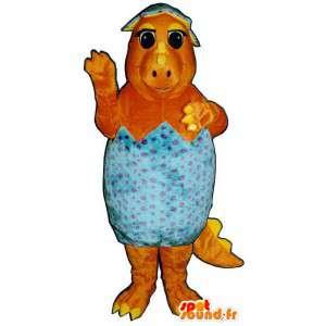 Mascote dinossauro alaranjado em uma casca de ovo azul - MASFR006718 - Mascote Galinhas - galos - Galinhas