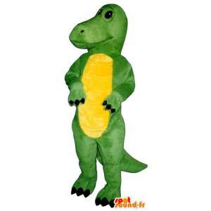 Mascote dinossauro verde e amarelo