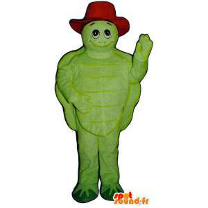 Mascota de la tortuga verde con un sombrero rojo