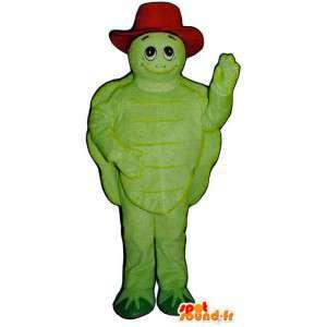 Mascote tartaruga verde com um chapéu vermelho