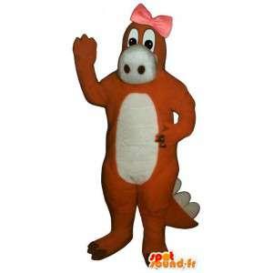 Oranje dinosaurus mascotte met een knoop op het hoofd