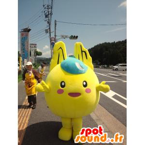 Mascotte de bonhomme jaune et rond, façon Pikachu