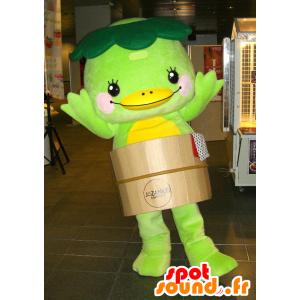 Verde e giallo anatra mascotte in una botte - MASFR25102 - Yuru-Chara mascotte giapponese