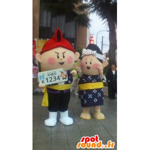 2 mascotte giapponese: Arco e Sir Aye Chan Okinawa - MASFR25103 - Yuru-Chara mascotte giapponese