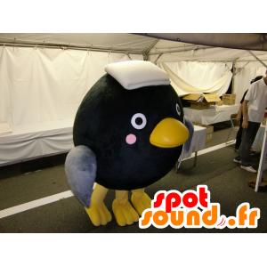 Mascotte grande uccello nero, grigio e giallo, tutto - MASFR25104 - Yuru-Chara mascotte giapponese