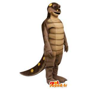 Brown dinosaur mascot yellow peas