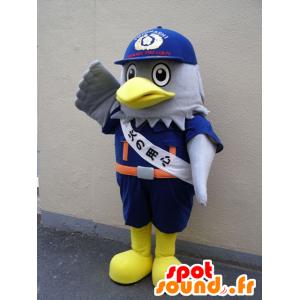 Watt-kun mascotte, grigio aquila, in uniforme blu di Toyohashi - MASFR25106 - Yuru-Chara mascotte giapponese