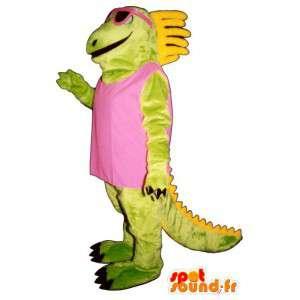 Mascote dinossauro verde e amarelo com óculos cor de rosa
