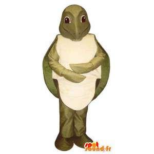 Mascotte de tortue kaki. Costume de tortue
