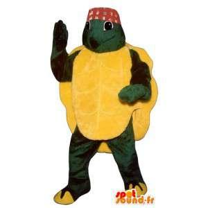 Mascotte de tortue verte et jaune